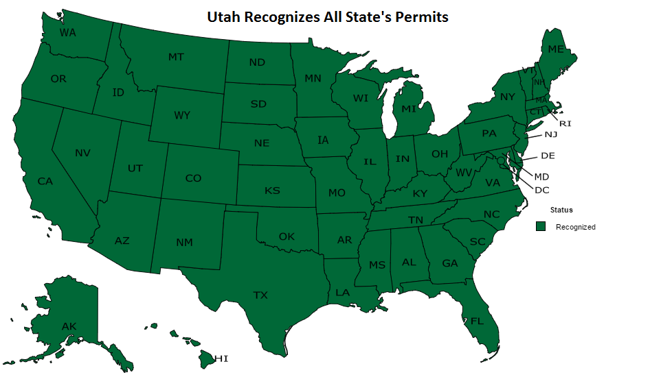 Utah Gun Laws Frontier Carry - Free usa map vector